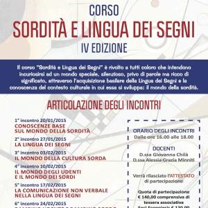 """Corso """"SORDITA' E LINGUA DEI SEGNI – IV EDIZIONE"""""""