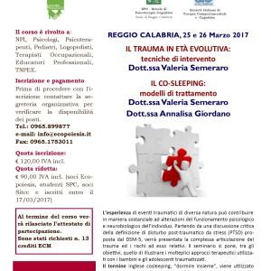 IL TRAUMA IN ETA' EVOLUTIVA: TECNICHE DI INTERVENTO. IL COSLEEPING: MODELLI DI TRATTAMENTO